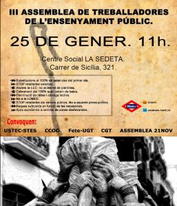CARTELL III ASSEMBLEA ENSENYAMENT  25G